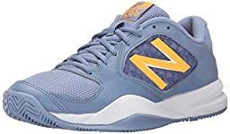 New Balance Women\'s WC696V2 Tennis Shoe, Grey/Yellow, 8 B US