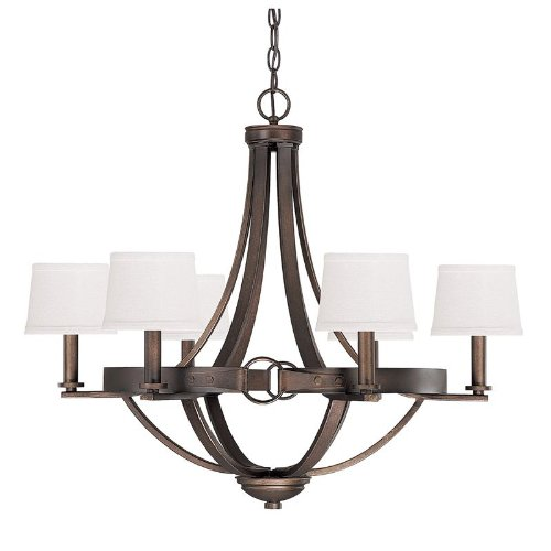 B00BZ9QTZA Capital Lighting 4206TB-546 Chastain 6-Light Chandelier, Tobacco Finish with Decorative Shades