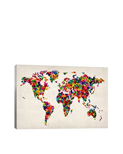 World Map Hearts II Gallery Wrapped Canvas Print