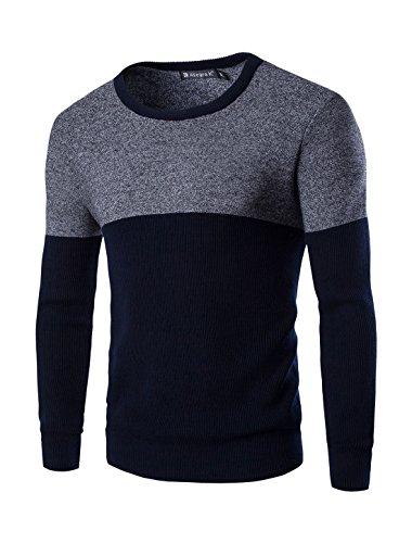 Allegra K Men Crew Neck Long Sleeves Contrast Color Panel Design Knit Top Blue S