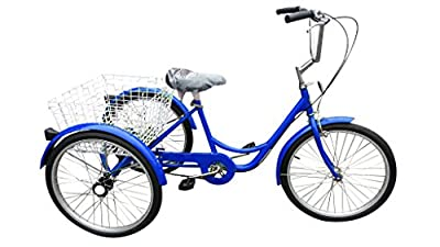 "Ultimate Hardware Freedom Adults 20"" Wheel 6 Speed Cargo Trike Tricycle Blue"