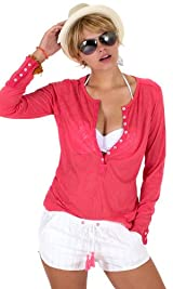 Coral paisley burnout henley tee