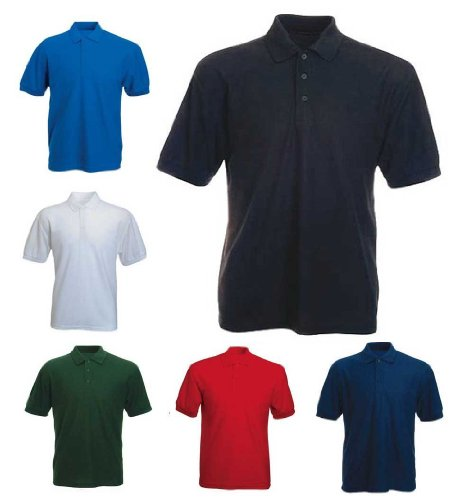 Atlas 65/35 Mens Polo ShirtT Shirts Sizes S to XXL-Black-S