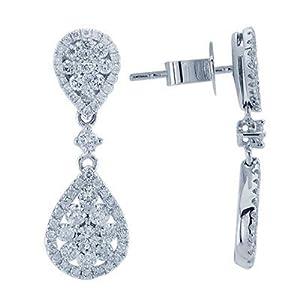 Elegant Diamond Drop Earrings In 18K White Gold