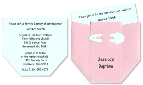 Diaper Baby Baptism Invitations for Baby Girl Set of 10 Baby