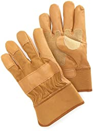 Carhartt Men\'s Grain Leather Work Glove with Safety Cuff, Brown, X-Large