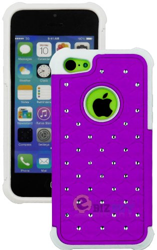 Mylife (Tm) Violet Purple + White Rugged Diamond Style 3 Layer (Hybrid Flex Gel) Grip Case For New Apple Iphone 5C Touch Phone (External 2 Piece Full Body Defender Armor Rubberized Shell + Internal Gel Fit Silicone Flex Protector + Lifetime Waranty + Seal