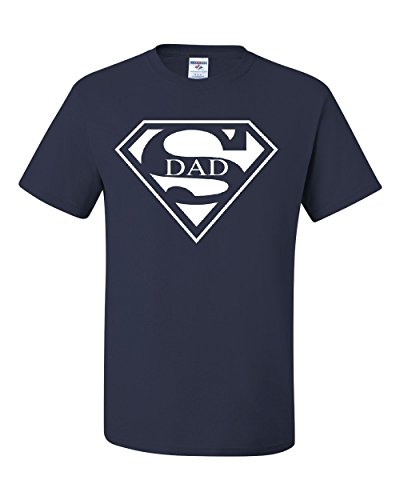 Super Dad T-Shirt Funny Superhero Father's Day Tee Shirt Navy Blue M