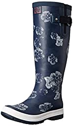 Helly Hansen Women\'s Veierland 2 Graphic Rain Boot, Navy/Evening Blue/Off White, 7 M US