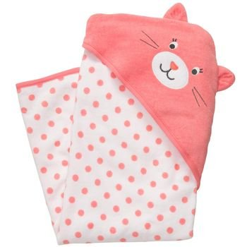 Carter's Baby Coral Kitty Dots Hooded Hoodie Towel, Girl