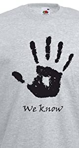 (ウィー ノー ハンドプリント) We Know Handprint, メンズ プリント Tシャツ - グレー/黒 XL = 111-116cm