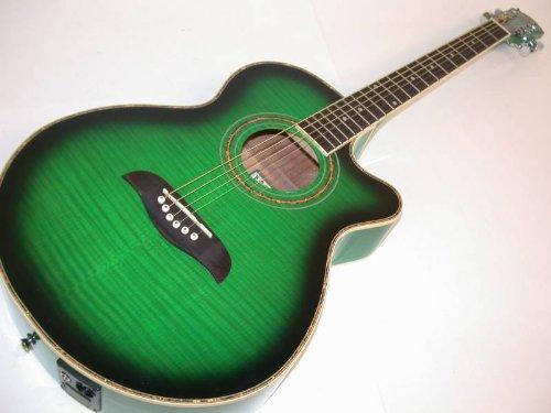 Oscar Schmidt By Washburn Og10Ce Full Size Cutaway Acoustic Electric Guitar - Transparent Green