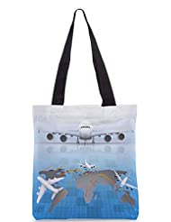 Snoogg Airplane Around The World Designer Poly Canvas Tote Bag