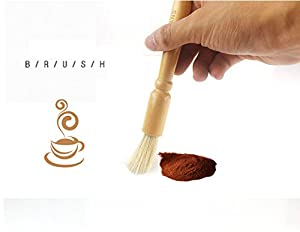Coffee Grinder Cleaning Brush, Heavy Wood Handle & Natural Bristles Wood Dusting Espresso brush Accessories for Bean Grain Coffee Tool Barista Home Kitchen from FEENM