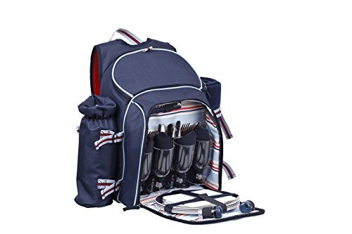 coastal-27849-4-person-picnic-backpack-with-bottle-holder-and-blanket-navy
