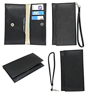 Jo Jo A5 Nillofer Leather Wallet Universal Pouch Cover Case For Micromax X256 Black