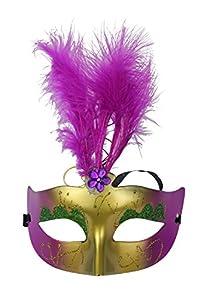 Kobwa(TM) New Colorful Powder Princess Mask/ Flashing LED Feather mask With Kobwa's Keyring