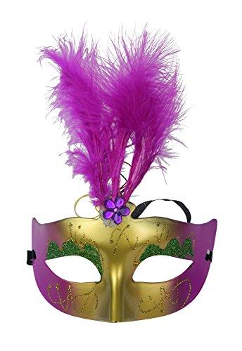 Hosdog New Colorful Flashing Led Feather Powder Princess Mask