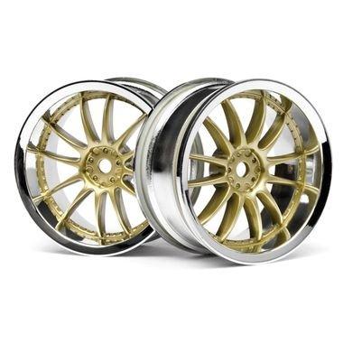 HPI Work XSA 02C Wheel 26mm Chrome/Gold (3mm Offset) - 1pr