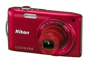 Nikon Coolpix S3300 Digitalkamera (16 Megapixel, 6-fach opt. Zoom, 6,7 cm (2,7 Zoll) Display, bildstabilisiert) rot