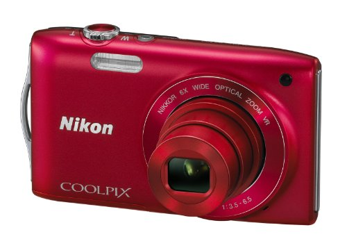 Nikon Coolpix S3300 Digital Camera - Red (16MP, 6x Optical Zoom) 2.7 inch LCD