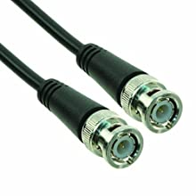 "TPI 58-048-1M PVC Jacketed RG58/U Molded BNC Male to Male Coaxial Cable, 50 Ohms, 48"" Length, Black"