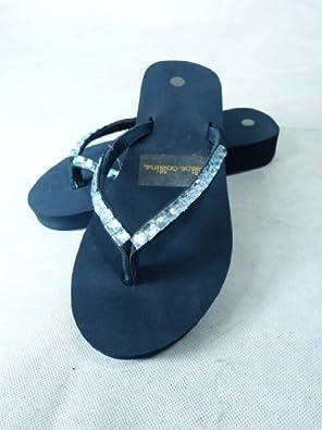 5814969626209 Navy Diamante Flip Flops | Designer Sandals