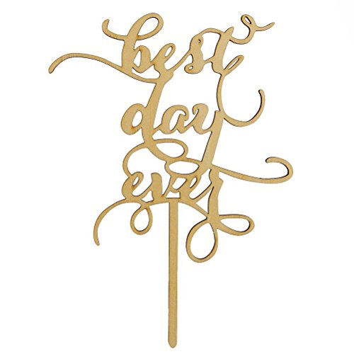 Tinksky Best Day Ever Wood Cake Topper Anniversary Engagement Decoration Wedding Favors