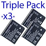 Premium Quality -Triple Pack- 3x CGA-S007, DMW-BCD10 Panasonic Compatible Digital Camera Battery for Panasonic Lumix DMC-TZ1, TZ2, TZ3, TZ4, TZ5 - I-Luv-Life