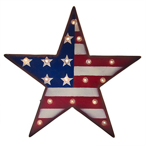 Glitzhome Marquee Patriotic LED Lighted Star Sign Wall Hanging