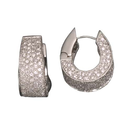 C.Z. WIDE U RHODIUM PLATED (.925) STERLING SILVER EARRINGS (Nice Holiday Gift, Special Black Firday Sale)
