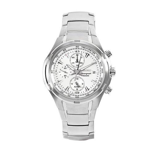 Seiko Men'S Snae39 Neosport Stainless Steel White Chronograph Dial Watch