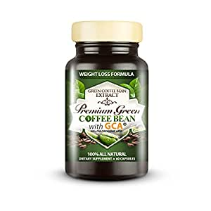 Premium Green Coffee Bean Extract 800 with GCA - 50% Chlorogenic Acid - 100% Natural Weight Loss Formula - 60 Capsules
