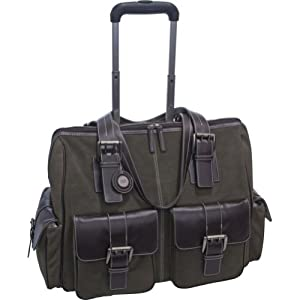 Jill-e 769428 Rolling Camera Bag Suede Large with Brown leather trim (Moss Green )