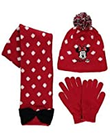 Minnie Mouse red knitted hat, gloves and scarf set for 4 - 8 years girl