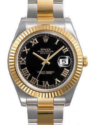 455aca894b0 Rolex Datejust II Black Roman Dial 18k Yellow Gold Fluted Bezel Two Tone  Oyster Bracelet Mens