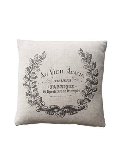 French Laundry Crest Pillow, Natural