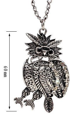Antique Silver Color OWL Pendant with CZ crystals - comes with 22 inch chain - large eyes with Onyx stones - Beautifully designed and hand polished to a very high jewellery standard - size of pendant 5mm