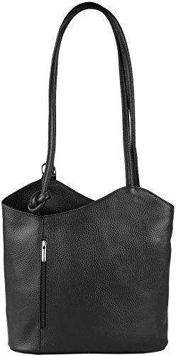 Ashley-2in-1-Rucksack-und-Handtasche-aus-sehr-weichem-Echt-Leder-Made-in-Italy-Schwarz
