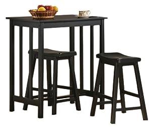 Amazon Com 3 Piece Black Finish Table Amp Saddle Bar Stool