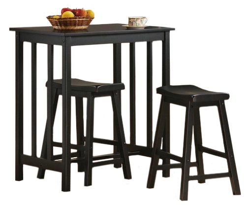 3 Piece Black Finish Table & Saddle Bar Stool Set