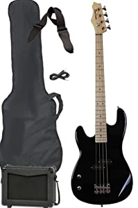 Left Hand Full Size Electric Bass Guitar Starter Beginner Pack with Amp Case Strap Black Package