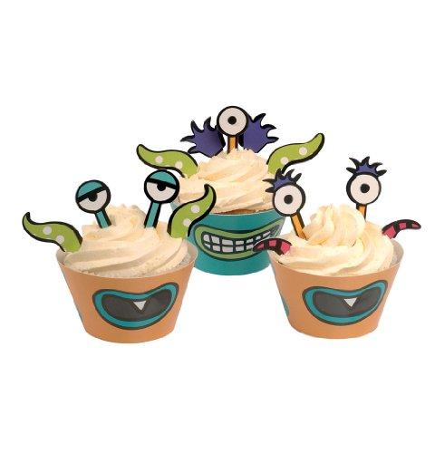 Ginger Ray toppers y envolturas de la magdalena del partido monstruo decoraciones - Monster Madness