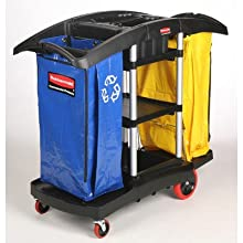 "Rubbermaid 9T79 Full Size Housekeeping Service Cart with Zippered Yellow Vinyl Bags, 2 Shelves, Black, 44"" Height, 51-3/4"" Length x 22"" Width"