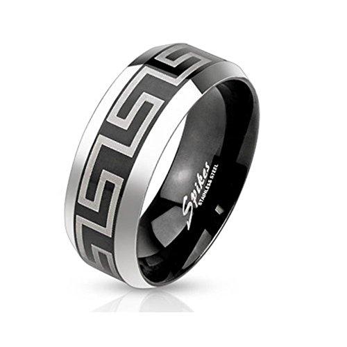 Paula & Fritz anello in acciaio INOX chirurgico 316L 6 o di 8 mm Nero Band con laser inciso larghezza labirinto modello disponibile anello misure 47 (15) - 69 (22) R-M3651, Acciaio inossidabile, 21, colore: Argento, cod. R-M3651_100