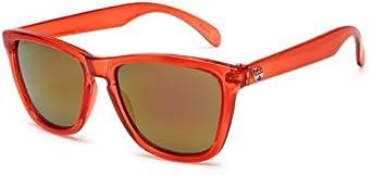 I SKI Keyhole Sunglasses,Red Crystal Frame/Smoke & Red Lens,One Size