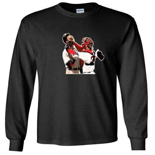 "Jason Varitek Boston Red Sox ""AROD FIGHT"" LONG SLEEVE T-SHIRT Large at Amazon.com"