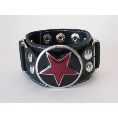 RED STAR METAL BIKER ROCKER PUNK VINYL BRACELET WRISTBAND GOTHIC EMO