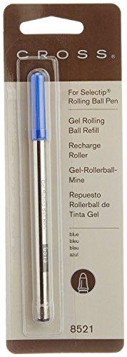 CROSS Lot de 6 Recharges pour roller pointe moyenne encre bleue