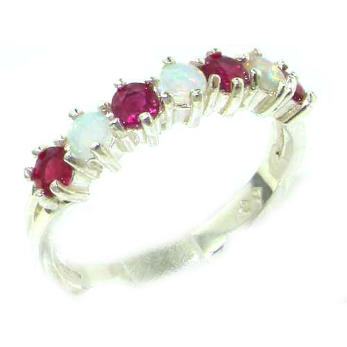 High Quality Solid Sterling Silver Natural Fiery Opal & Ruby Eternity Ring - Size 12 - Finger Sizes 5 to 12 Available - Suitable as an Anniversary ring, Engagement ring, Eternity ring, or Promise ring